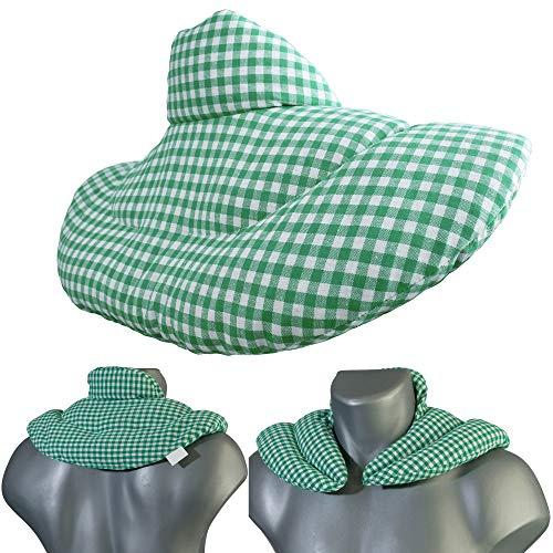 Nackenhörnchen mit Stehkragen grün-weiß, Leinsamenkissen. Nackenkissen Wärmekissen - Ein sehr wohliger...