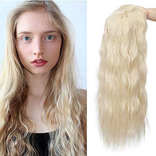 Clip in Extensions Haarteil Topper Toupet Corn Wavy wie Echthaar Perücken mit 3 Clips für Frauen Gewellt Gebleichtes Blond 20