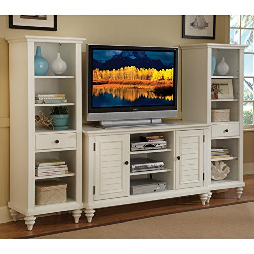 Home Styles 5543-34 Bermuda 3-Piece Entertainment Center, Brushed White Finish
