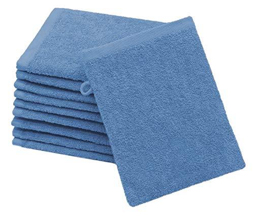 ZOLLNER 10er Set Waschlappen Baumwolle, 16x21 cm, blau (weitere verfügbar)