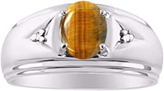 Mens Classic Oval Tiger Eye & Diamond Ring Set in Sterling Silver .925