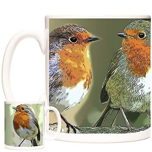 Hermosa taza con diseño de petirrojo con diseño de pá