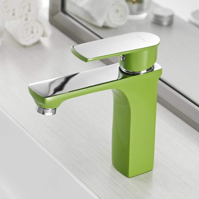 Lddpl Wasserhahn Becken Wasserhahn Kalt-und Warmwasserhhne Bronze Grün Orange Wei Mode-Stil Einlochmontage Bad Mischbatterie