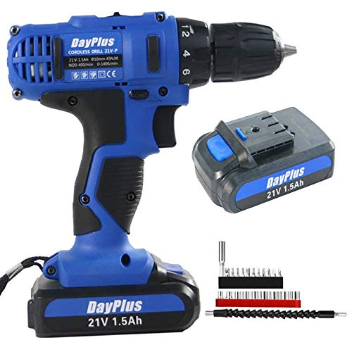 Heavy Duty 21V Cordless Drill/Driver with Bits Set & Battery, Combi Drill Impact Driver Screwdriver Li-Ion Battery LED Worklight Variable Speed 18+1 Torque Electric Power Tool Fast Charge w/Carry Case