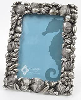 Concepts 4x6 Picture Frame Pewter Finish Shells Resin Nautical Beach Decor Design