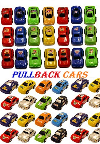 SHATCHI 12 Pcs Toys Pull Back Mini Race Cars Assorted Colours Party Bag Fillers