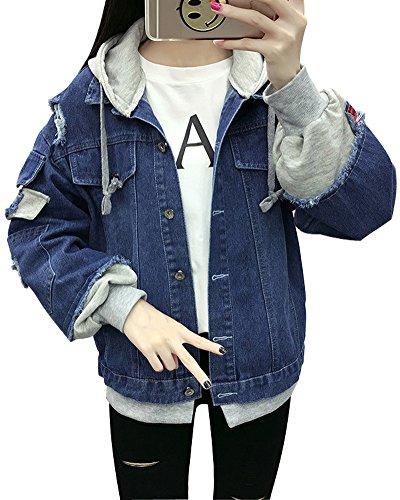 Minetom Damen Mädchen Beiläufig Stilvoll Bestickt Rose Gewaschene Jeans Denim Jeansjacke Jacket Oberbekleidung Coats Mantel C Dunkelblau DE 34