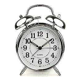 MeterMall HITO 4` Silent Quartz Analog Twin Bell Alarm Clock with Nightlight and Loud Alarm (NO16) Home Decor