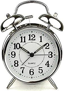 HSXOT Reloj Despertador De 4 Pulgadas con Alarma De Cuarzo, Acero Inoxidable, Metal, Reloj Despertador, Plata.