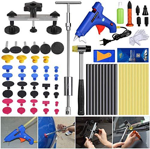 PDR Dellen Reparatur Ausbeulwerkzeug Set, dellen Reparatur Set für Auto Hagel Schäden und Tür Mit Klebestift und Klebepistole