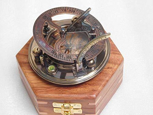 Brújula de latón antiguo reloj de sol RIRHTAJUS totalmente funcional con caja de palisandro.
