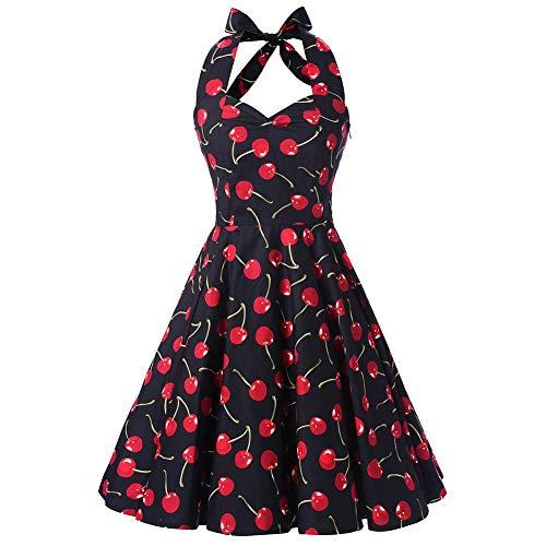 SXSHUN Vestido Retro Años 50 para Mujeres Vestido Vintage Rockabilly Polka Vestido Cuello Hálter de Noche, Negro/Cereza, XXL