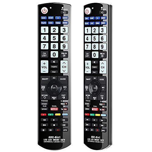 Alkia Universal-Fernbedienung für Panasonic, Samsung, LG, Sony, Toshiba, Sharp, Philips, Vizio TV/Learn/HDTV / 3D / LCD/LED - KEIN Setup erforderlich (im Dunkeln Leuchtend)