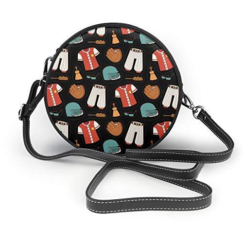 Baseball-Anzug Damen PU Leder Reißverschluss Runde Crossbody Schultertasche Tote Handtasche Tasche für Arbeit Reisen Dating