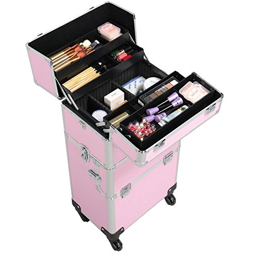 Yaheetech 3 in 1 Aluminum Rolling Makeup Case Extra Large Cosmetic Train Case Big Trolley Organizer Case Pink