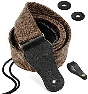 BestSounds Guitar Strap 100% Soft Cotton Genuine Leather Ends Strap for Acoustic Guitar, Electric Guitar, Bass & Mandolins (Coffee)