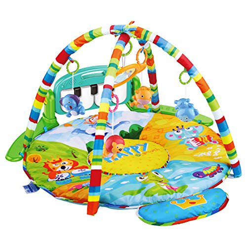 UNIH Baby Activity Gym Rack Piano Fitness Playmat with 5 Activity Sensory Toys Newborn Baby Activity Center for Girl and Boy 0-36 Month