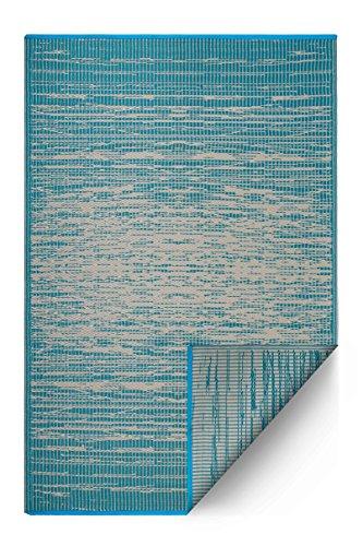 FAB HAB Reversible, Interior/Exterior Resistente a la Intemperie Alfombra/Alfombra - Brooklyn - Verde Azulado (90 cm x 150 cm)