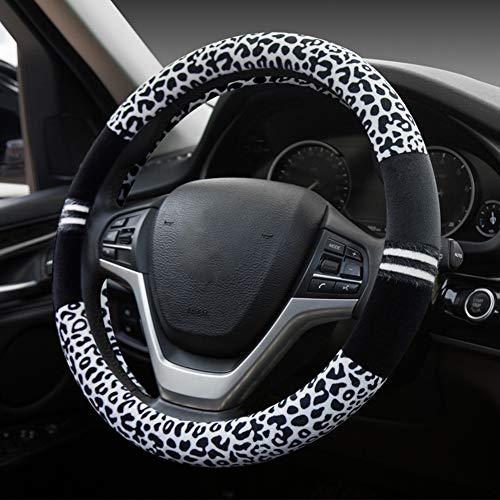 """HONCENMAX Prämie Plüsch Weich Fahrzeug Lenkradabdeckung Bequem Winter Auto Lenkradschutz Universal Durchmesser 38cm (15\"""") Leopard-Druck"""
