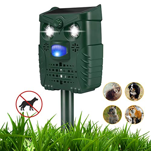 Ultrasonic Dog Repellent, Waterproof Dog Bark Control with Flashing Lights, Solar Powered Repellent with USB Cable for Dogs, Cats, Birds and More