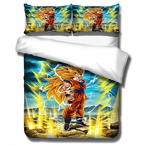 ZPYHJS Juego de Ropa de Cama con Funda nórdica para niños y niñas de Anime 3D Dragon Ball, Suave, cómoda y Duradera Cama Individual Ropa de Cama Doble Textiles para el hogar-G_210x210cm (3pcs)