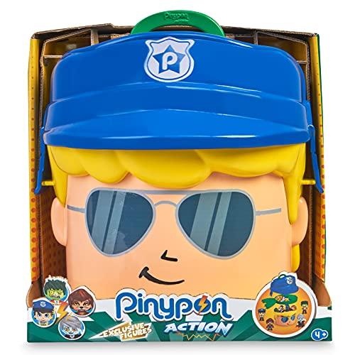 Pinypon Action -  Contenedor de Policía y Monstruos,  cabeza de Pinypon grande,  caja contenedor con compartimentos para accesorios y figuras,  incluye 4 muñecos Famosa mix es max,  Famosa,  (700016645)