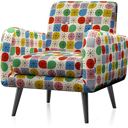 arm chairs JustRoomy Mid Century Accent Chair Modern Tufted Fabric Arm Chair Upholstered Armchair with Removable Seat Cushion Black Tapered Leg Deep Seating Comfy Bedroom Living Room Reading Chair, Colorful Dots
