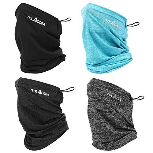 Tolaccea 4 Stück Multifunktionstuch Schlauchschal,Bandana Halstuch Herren Damen, Super Elastiche Sonnenschutz Schnelltrocknend Atmungsaktiv Weich Halstuch für Motorrad Radfahren Klettern