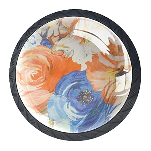 Tela textil floreciente peonía floral colorido, pomos de cajón para puerta de gabinete (4 unidades) redondo sólido para oficina, hogar, cocina, baño