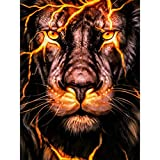 DIY 5D Diamond Painting Kits for Adults by Number, Full Drill Diamond Art Picture with HD Embroidery Canvas for Home Wall Decoration & Gift(Seaside Castle, 15.75 X 11.81 Inch) (Fire Lion)