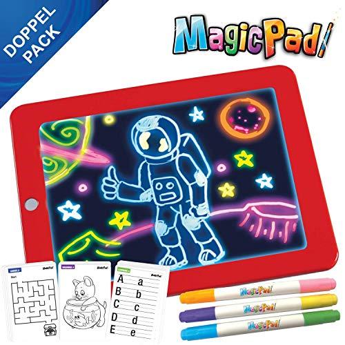Mediashop Magic Pad | Zeichenbrett | Farbstifte mit 6 Neonfarben | Schablonen zum Ausmalen, Zeichnen, Schreiben & Rechnen | Schreibplatte | Maltafel | Das Original aus dem TV (Doppelpack)