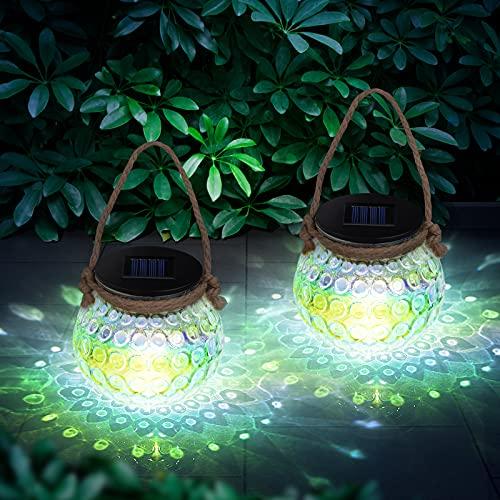 Kriogor Solar Laterne für Außen, 2 Stück LED Solar Glas Laterne für Aussen, IP65 Wasserdicht, Solarlampen für Draußen Hängend für Garten, Terrasse,Veranda, Rasen, Hof, Balkon