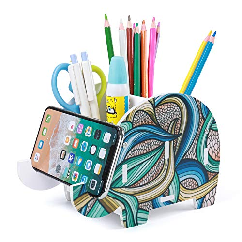 Desk Supplies Organizer Mokani Creative Elephant Pencil Holder Multifunctional Office Accessories Desk Decoration with Cell Phone Stand Tablet Desk Bracket for iPad iPhone Smartphone and more