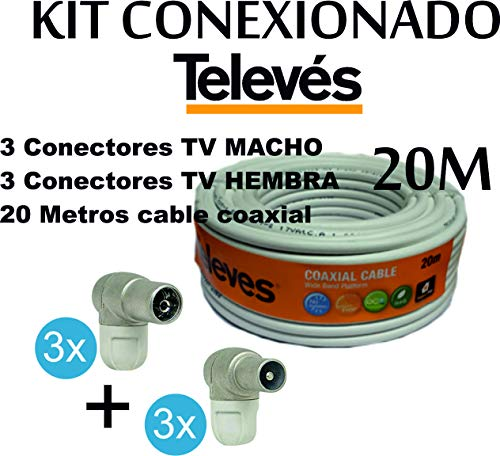 Kit Rollo Cable Televes de 20Mt 435501 + 6X Conectores Antena Televes (3 Macho+ 3 Hembra)