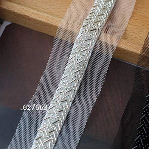 Mode high-grade mesh Gaas Kralen kant Accessoires DIY Stage Pak Bruiloft Jurk Neckline Riem Decoratie ZILVER
