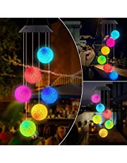 Benooa Solar Wind Chimes Crystal Ball Lights Colorful Wind Chimes Mobile Solar Lights Portable Waterproof Outdoor Decorative Hanging Led Lights for Home, Patio, Garden
