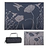 Ming's Mark HM8111 Stylish Camping Reversible Hummingbird Patio Mat - 8' x 11', Black/Brown