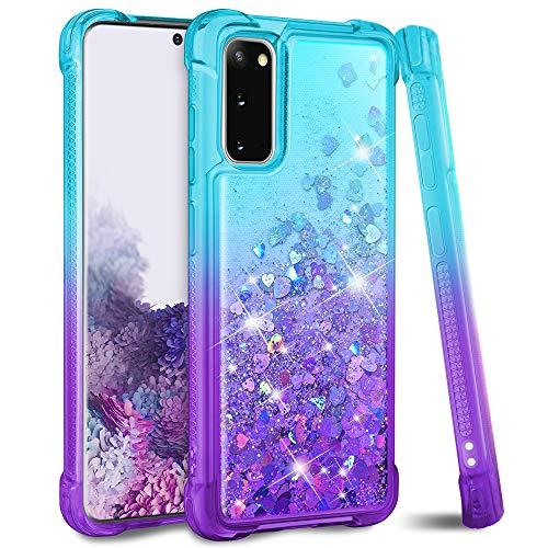 """Ruky Galaxy S20 5G Case, [Not Fit Galaxy S20 FE] Glitter Liquid Gradient Quicksand Series Soft TPU Shockproof Protective Reinforced Corners Women Girls Case for Samsung Galaxy S20 5G 6.2"""", Teal Purple"""