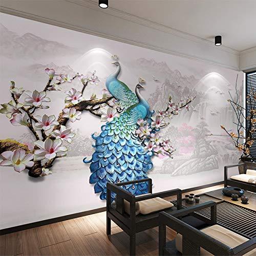 QWESD Papel Tapiz fotográfico Estilo Europeo Azul 3D Murales de Pared Sala de Estar TV Sofá Fondo Papeles de Pared para Paredes 360 cm (W) x 230 cm (H)
