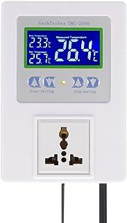 KKmoon AC110-240V 10A LCDデジタル温度コントロール LCDディスプレイ センササーモスタット加熱冷却制御スイッチ付