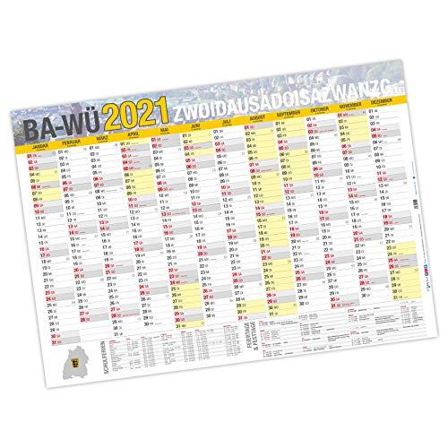 itenga XXL Premium Baden-Württemberg Jahresplaner 2021 Wandkalender DIN A0 (118,9x84,1cm) 250g/m² gerollt stabil
