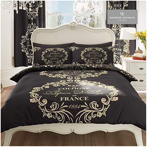 Gaveno Cavailia Luxurious SCRIPT PARIS Bed Set With Duvet Cover and Pillow Case, Polyester-Cotton, Black , Double