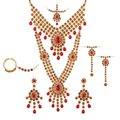 Efulgenz Juego de gargantilla de cristal con diamantes de imitación de Bollywood de la India, collar y pendientes de Maang Tikka cabeza cadena nariz anillo pulsera rojo