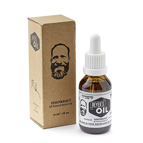 Beyer's Oil Bartöl Eisenkraut 30ml - Handgemacht in Bayern - 100% natürliche Bartpflege mit Bio Jojobaöl - Pflegt die Haut, macht den Bart weich