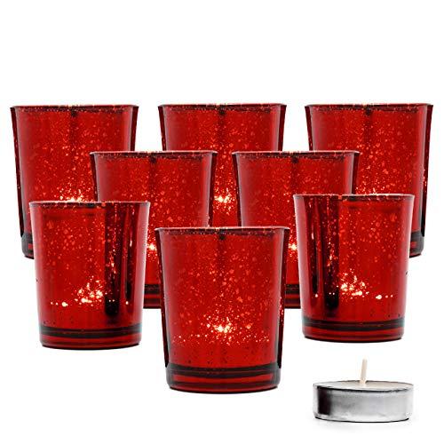 15 Stück Glas Teelichthalter, 6.8cm - Gefleckter Rot Kerzenhalter - Premium Qualität, Stilvoll & Elegant.