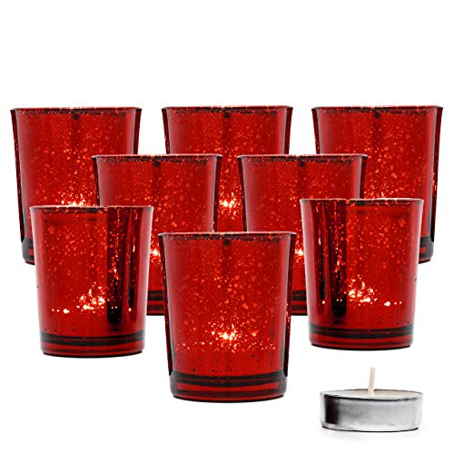 THE TWIDDLERS - 15 Premium Speckled Red Glass Tea Light Candle Holders