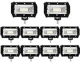 Leetop 10X 72W Focos de Coche LED Potentes,IP67 Impermeable Blanco Frío Faro de Trabajo LED para Off-Road Camión,Todoterreno,Tractor,Barco