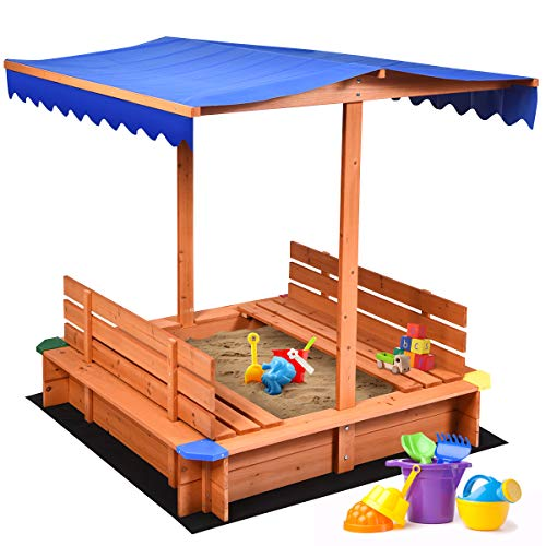 Costzon Kids Wooden Sandbox with Canopy, Cedar Square Cabana Sandbox with 2 Bench Seats, Non-Woven Fabric Cloth, Children Outdoor Playset for Backyard, Home, Lawn, Garden, Beach