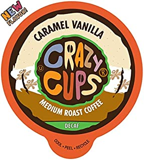 Crazy Cups Flavored Single-Serve Coffee for Keurig K-Cups Machines, Decaf Caramel Vanilla, 22 Pods per Box