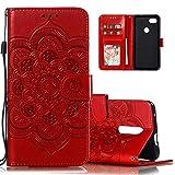 ISADENSER Phone Case for LG K30 2019 , LG Arena 2 Case, LG Escape Plus Case, LG Journey LTE Case Elegant Embossing Totem Wallet PU Leather Card Slot Cover Compatible for LG K30 2019 Mandala Red LD